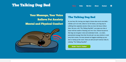 Website Design for The Talkding Dog Bed